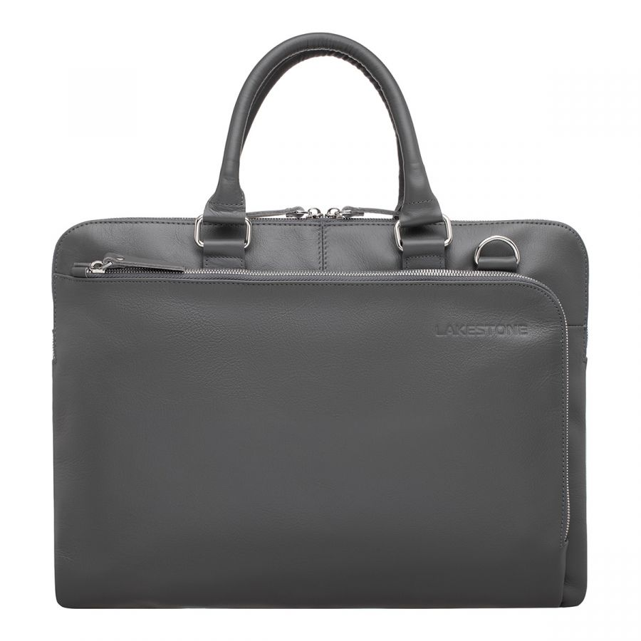 Кожаная деловая сумка LAKESTONE Albert Grey