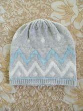 Кашемировая мягкая вязаная тонкая шапка со знаменитым шотландским орнаментом Фейр Айл ZIG ZAG FAIRISLE HAT Pumice / Pale Aqua / White