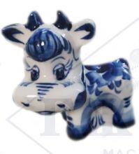 Фарфоровая статуэтка Корова Дуняша. Символ года 2021. Гжель 10,5х9х6,5см
