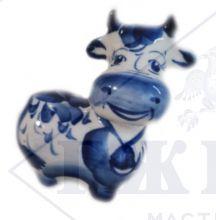 Фарфоровая статуэтка Веселая Корова Гжель  с колокольчиком 8,5х7х6см