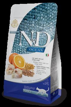 N&D Ocean Codfish, Spelt, Oats & Orange adult (треска с пшеницей, овсом и апельсином низкозерновой корм для кошек)