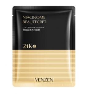 Двухслойная омолаживающая и восстанавливающая маска из ткани и золотой фольги Venzen.(37287)