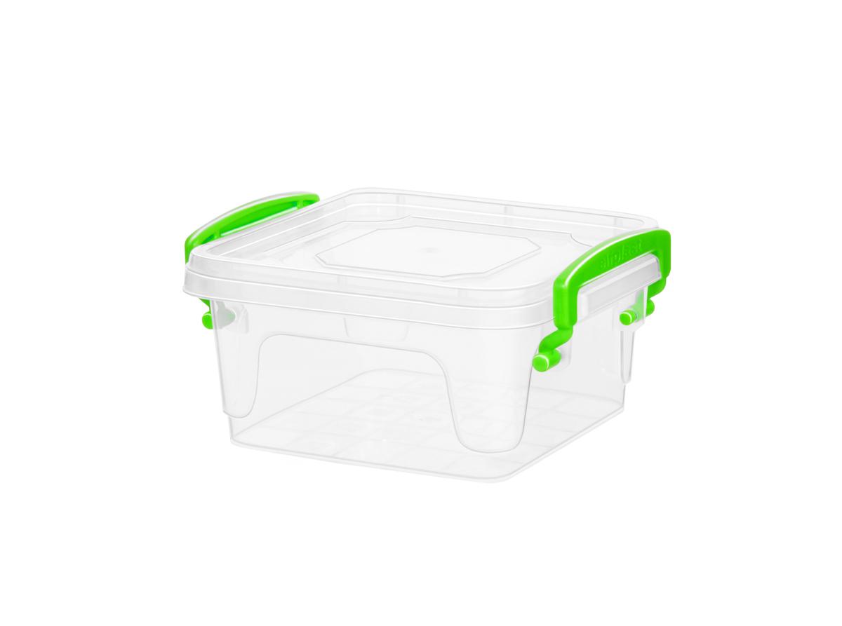 Контейнер для хранения Fresh Box  0,35 литра квадратный с крышкой прозрачный/салатовый Эльфпласт 12х9х10,7 см