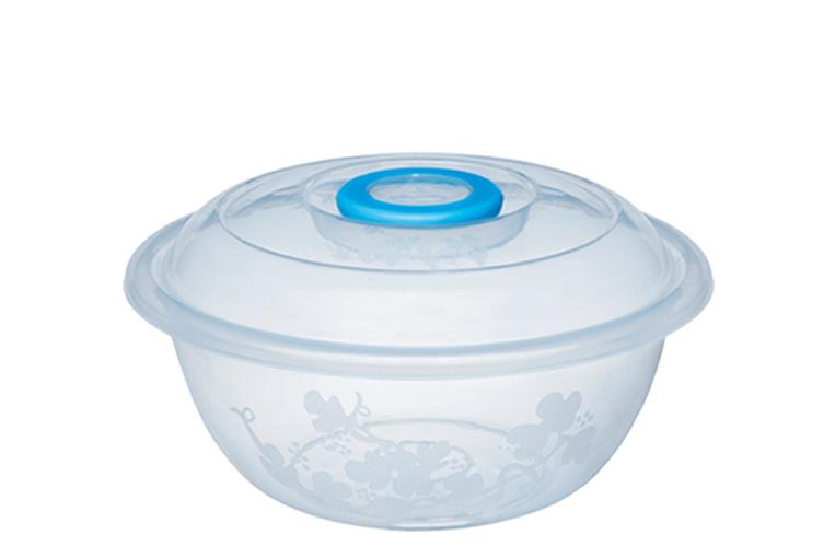 Таз мерный Изобилие миска 6 литров / контейнер для хранения 31 см прозрачный с крышкой Эльфпласт