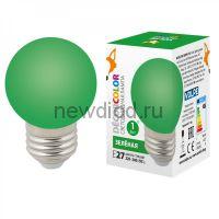 """Лампа декоративная светодиодная LED-G45-1W/GREEN/E27/FR/С Ф """"шар"""" матовая Цвет зеленый ТМ Volpe"""