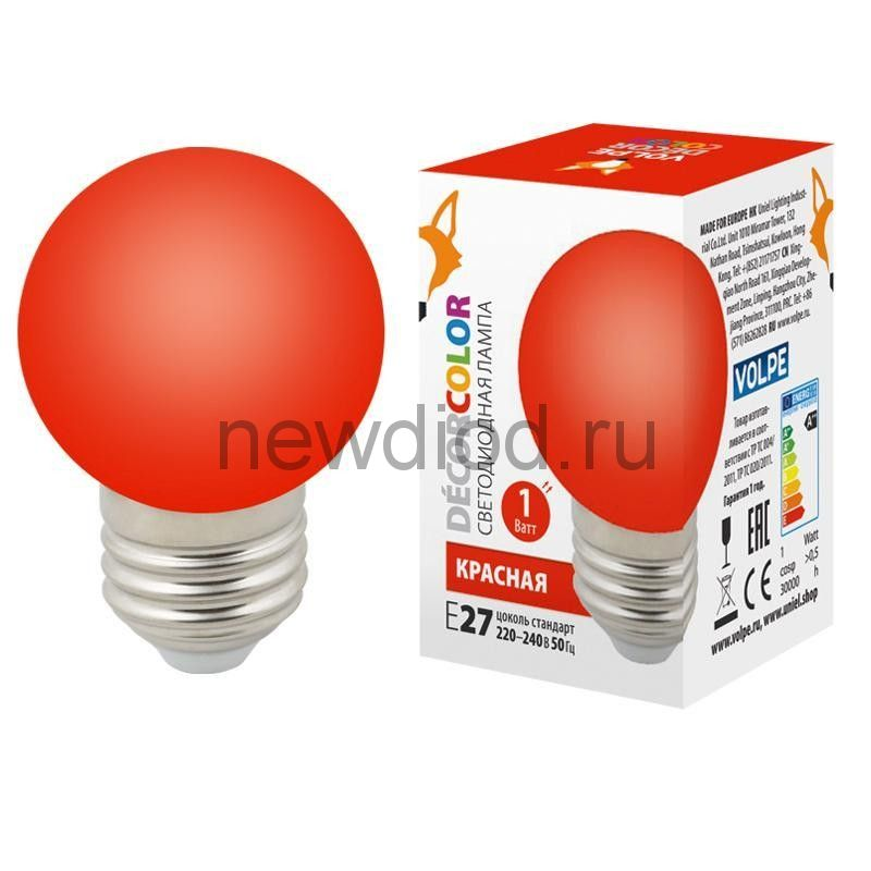 "Лампа декоративная светодиодная LED-G45-1W/RED/E27/FR/С Ф ""шар"" матовая Цвет красный ТМ Volpe"
