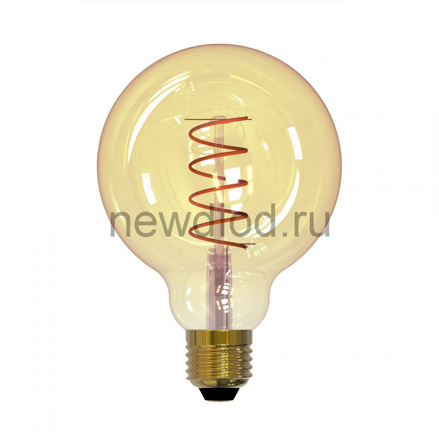 Лампа светодиодная LED-G95-4W/GOLDEN/E27/CW GLV21GO  Vintage Ф «шар» золот колба спирал нить Uniel