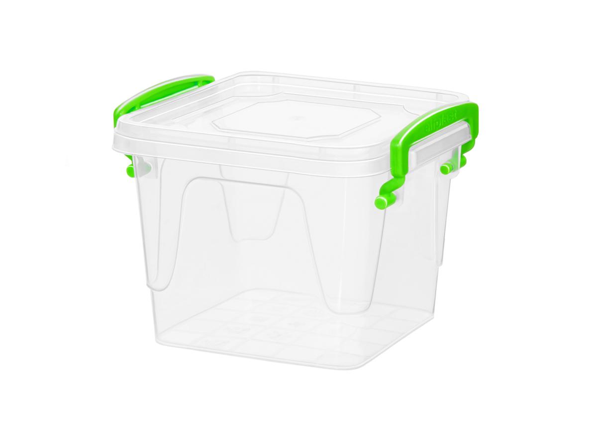 Контейнер для хранения Fresh Box 1,8 литра квадратный с крышкой прозрачный/салатовый Эльфпласт 16х14,5х14,5 см