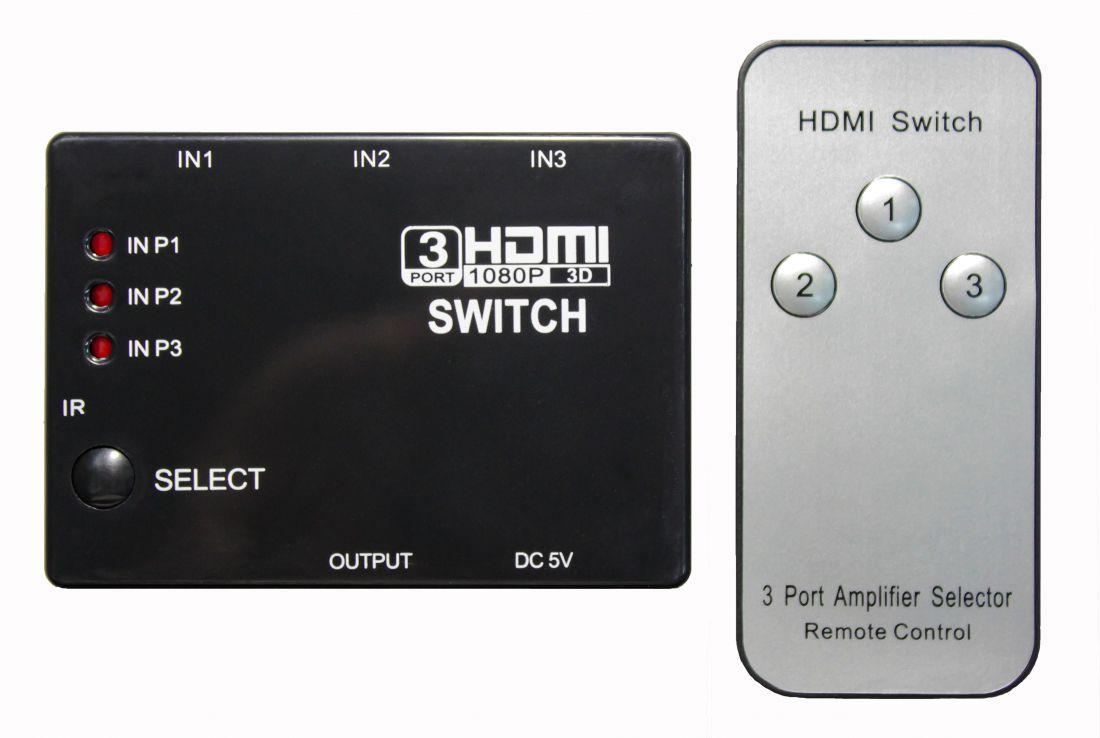 Переключатель портов HDMI SWITCH (на 3 порта) с пультом ДУ