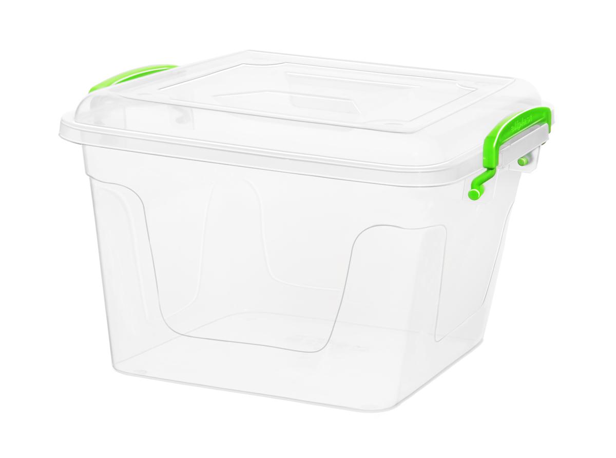 Контейнер для хранения Fresh Box 6 литров квадратный с крышкой прозрачный/салатовый Эльфпласт  26,5Х25Х17 см