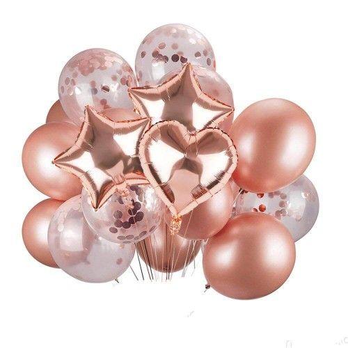 """Набор гелиевых фольгированных шаров """"Розовое золото"""""""