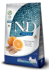 N&D Ocean Herring & Orange mini adult (Сельдь и апельсин беззерновой корм для взрослых собак мелких пород)