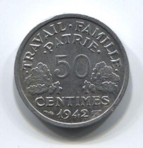 50 сантимов 1942 года Франция AUNC