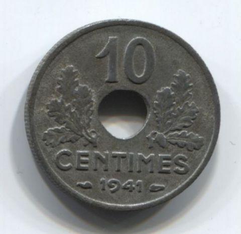 10 сантимов 1941 года Франция, оккупация, режим Виши