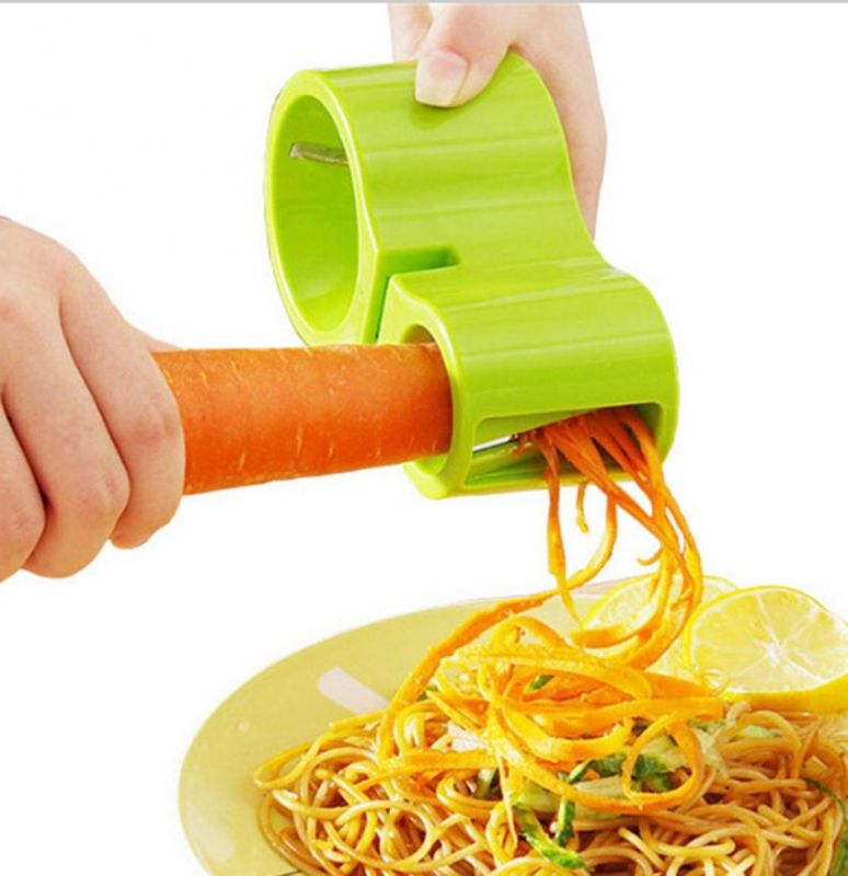 Нож спиральный двойной с точилкой для ножей Spiral Cutter Sharpener (цвет зелёный)