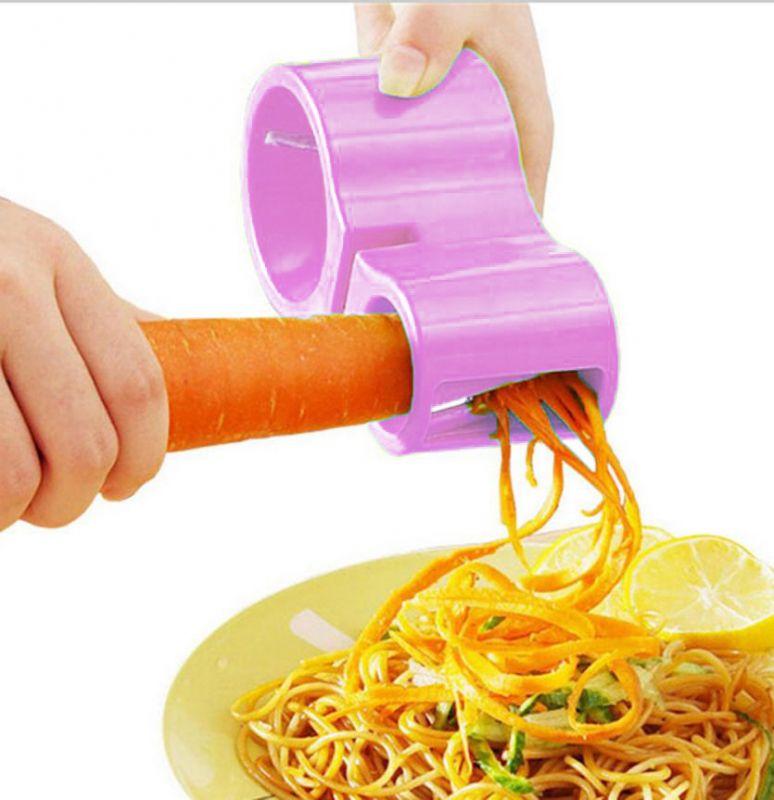 Нож спиральный двойной с точилкой для ножей Spiral Cutter Sharpener (цвет розовый)