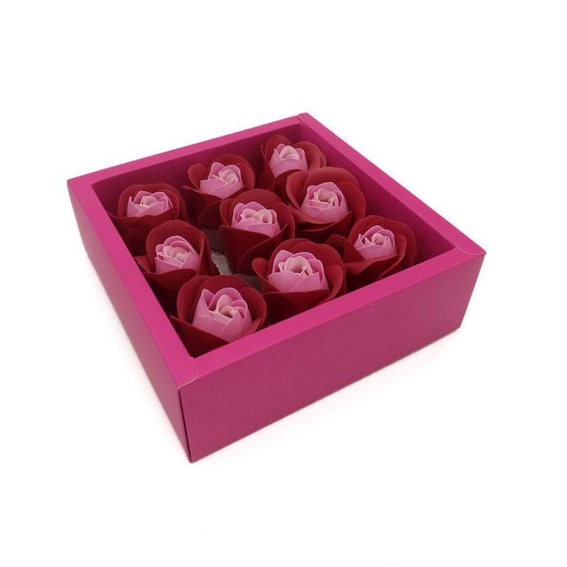 Мыльные розы в коробке 9 шт (цвет красный градиент)