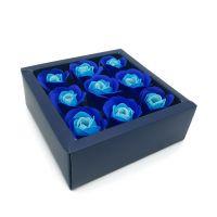 Мыльные розы в коробке 9 шт (цвет синий градиент)