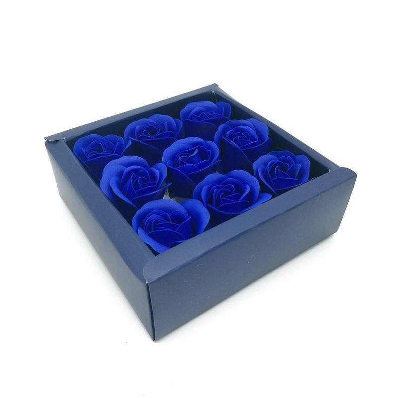 Мыльные розы в коробке 9 шт (цвет синий)