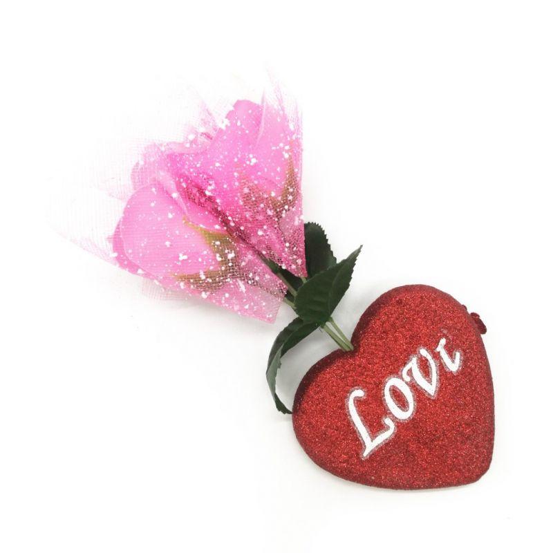 Букет мыльных роз и Сердце (цвет розовый)