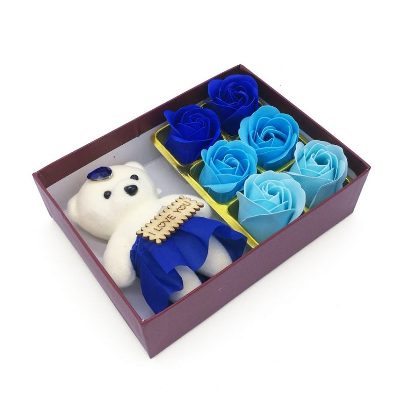 Мыльные розы 6 шт в коробке с мишкой (цвет синий микс)