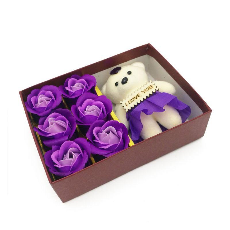 Мыльные розы 6 шт в коробке с мишкой (цвет фиолетовый градиент)
