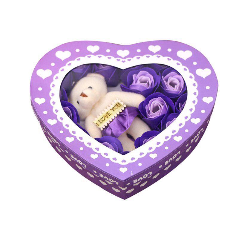 Мыльные розы 18 шт в коробке с мишкой (цвет фиолетовый)