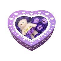 Мыльные розы 18 шт в коробке с мишкой (цвет фиолетовый)_1
