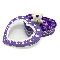 Мыльные розы 18 шт в коробке с мишкой (цвет фиолетовый)_3