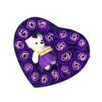 Мыльные розы 18 шт в коробке с мишкой (цвет фиолетовый)_2