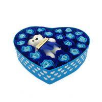 Мыльные розы 18 шт в коробке с мишкой (цвет голубой)_3