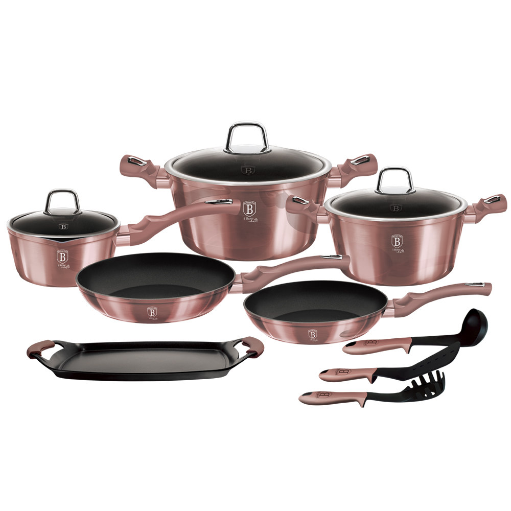 Набор посуды для приготовления Berlinger Haus iRose, 6044-BH, с антипригарным покрытием, с крышками, 10 предметов