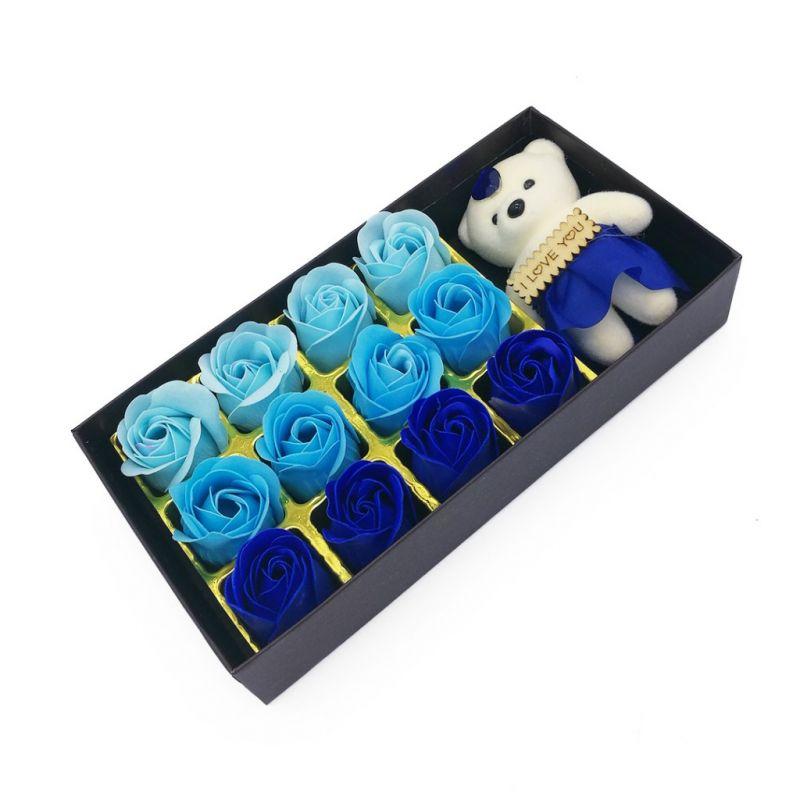Мыльные розы 12 шт в коробке с мишкой (цвет синий микс)