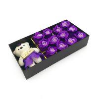 Мыльные розы 12 шт в коробке с мишкой (цвет фиолетовый градиент)