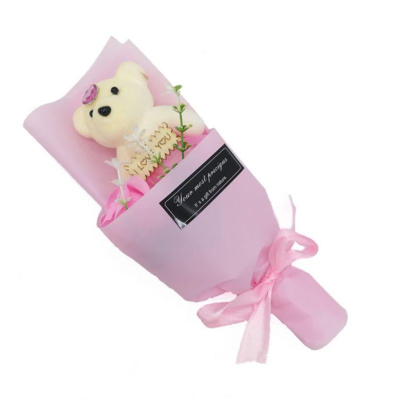 Мыльная роза с мишкой в упаковке (цвет розовый)