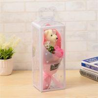 Мыльная роза с мишкой в упаковке (цвет розовый)_2