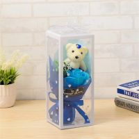 Мыльная роза с мишкой в упаковке (цвет синий)_2