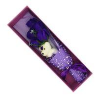 Букет мыльных роз с мишкой в коробке (цвет фиолетовый)