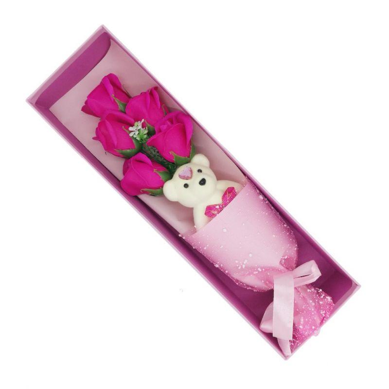 Букет мыльных роз с мишкой в коробке (цвет фуксия)