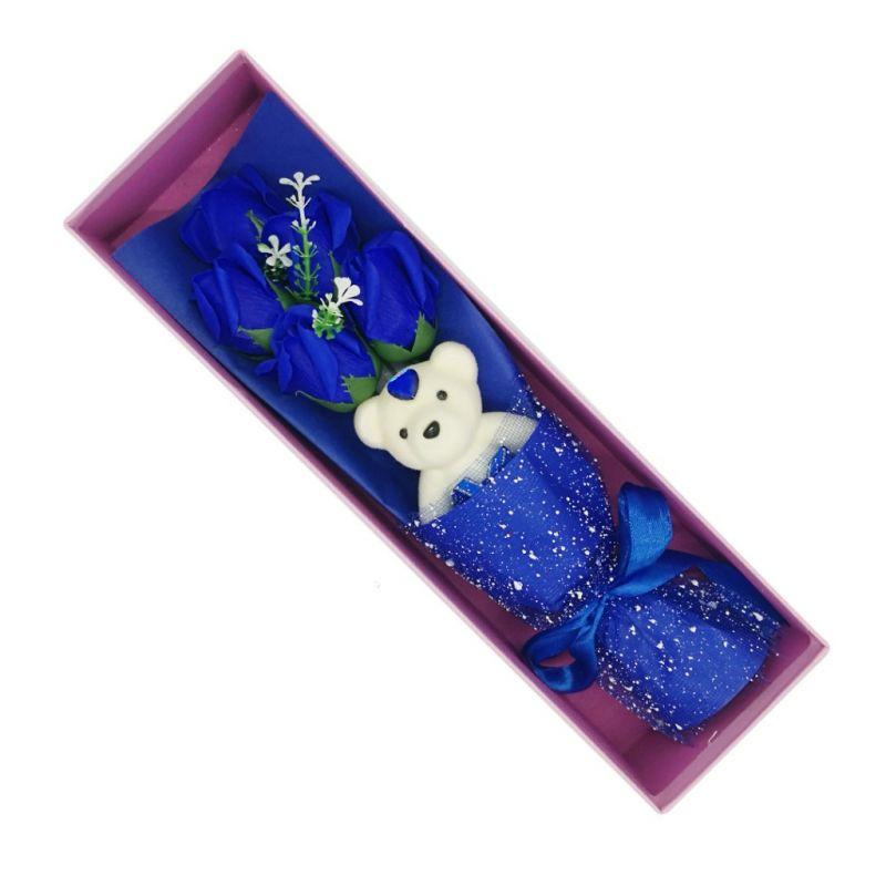 Букет мыльных роз с мишкой в коробке (цвет синий)