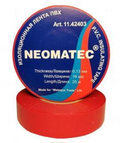 Изолента NEOMATEC 0.13 х19 мм х 25 м Красная