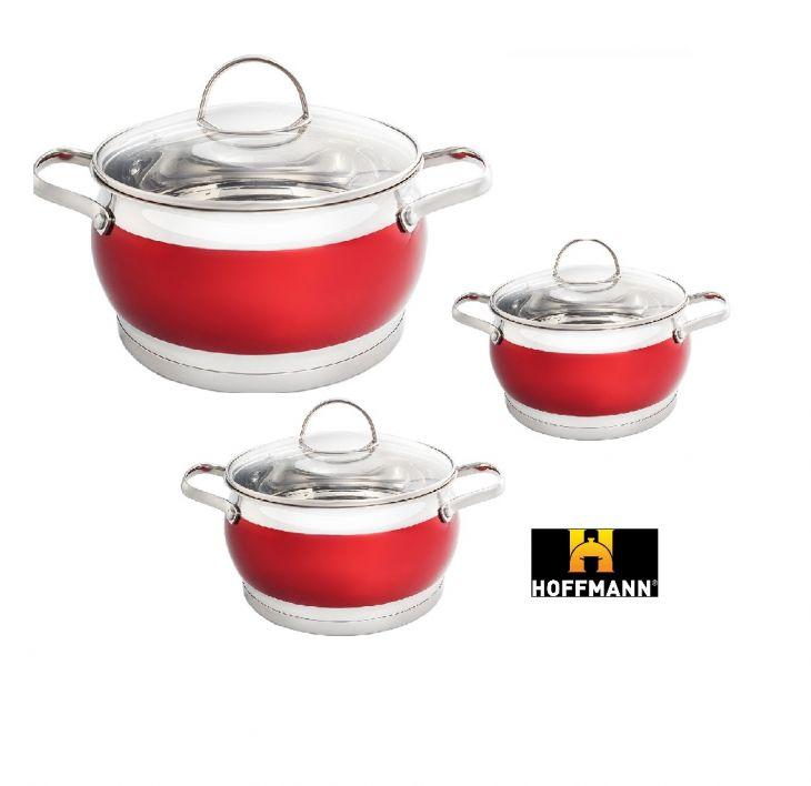 Набор посуды 3 кастрюли HM 5856 красный
