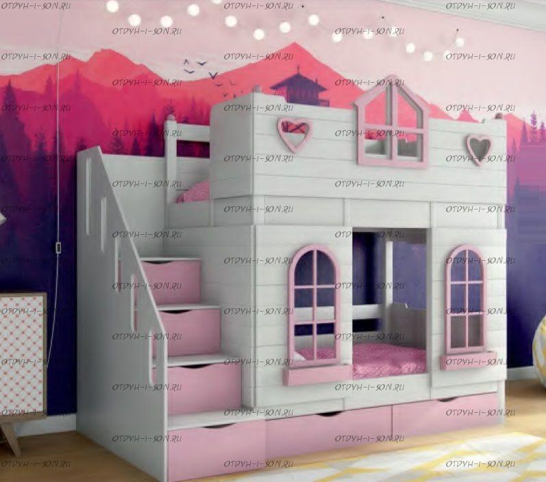 Кровать двухъярусная Домик Принцесса №К02