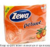 Zewa Delux.Туалетная бумага 3-х сл. персик 4 рулона, шт