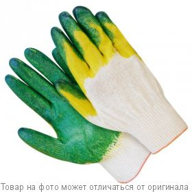 Перчатки Х/Б 13 класс с двойным латексом, зеленые в индив.упаковке 1пара/упак, шт