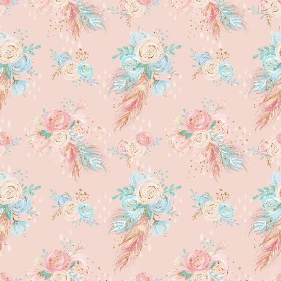 Хлопок Перкаль Цветы на персиковом 50х37