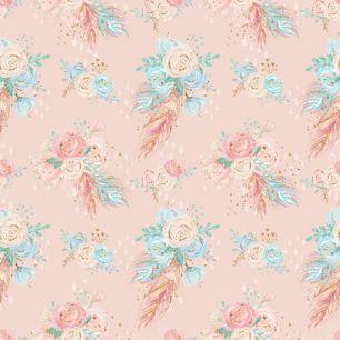 Лимитированная коллекция Арт-ткани Хлопок Сатин Цветы на персиковом