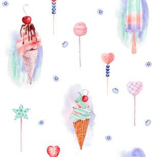 Лимитированная коллекция Арт-ткани Хлопок Сатин Вкусное мороженое