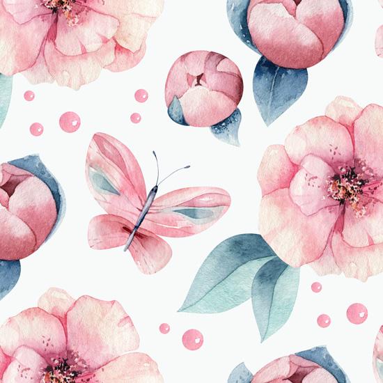 Лимитированная коллекция Арт-ткани Хлопок Сатин Нежные цветы