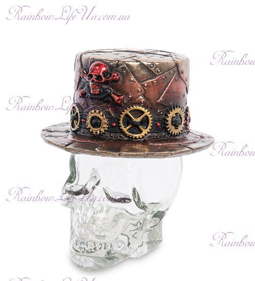 """Флакон шляпа в стиле Стимпанк на стеклянном черепе """"Veronese"""""""